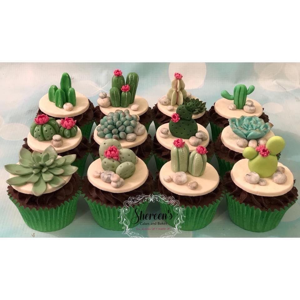 Cacti Cactus Succulent Cupcakes Pink Flowers Stones Birthday