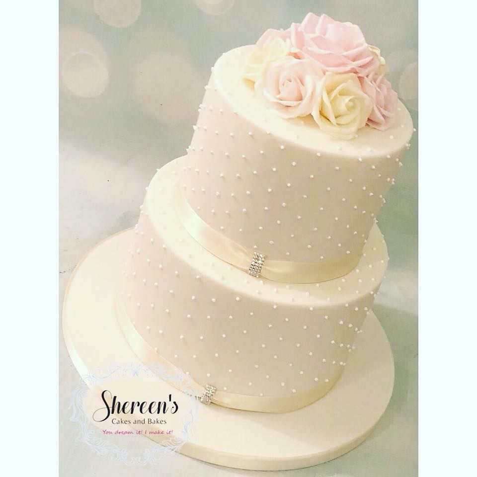 Wedding Cake Romantic Ivory White Pink Diamante