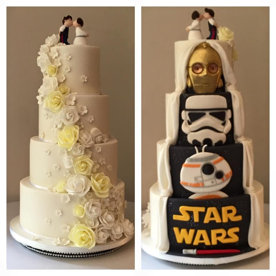 Star Wars Hidden Surprise Wedding Cake Back C3PO Storm Trooper BB-8 Princess Leia Han Solo Topper