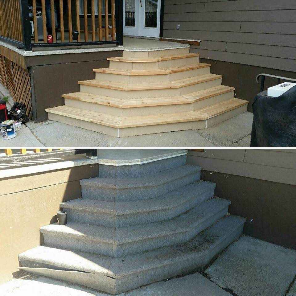 Replaces new patio stairs