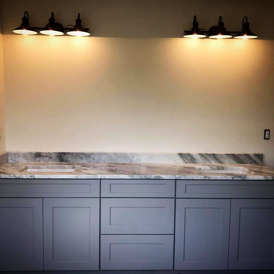 vanity, granite, bathroom, lights