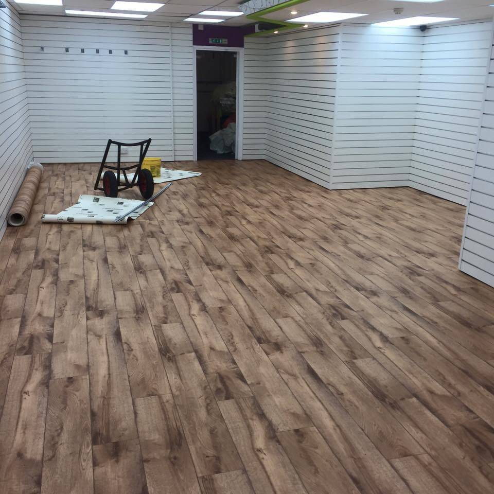 Wood effect commercial vinyl fitted in a shop