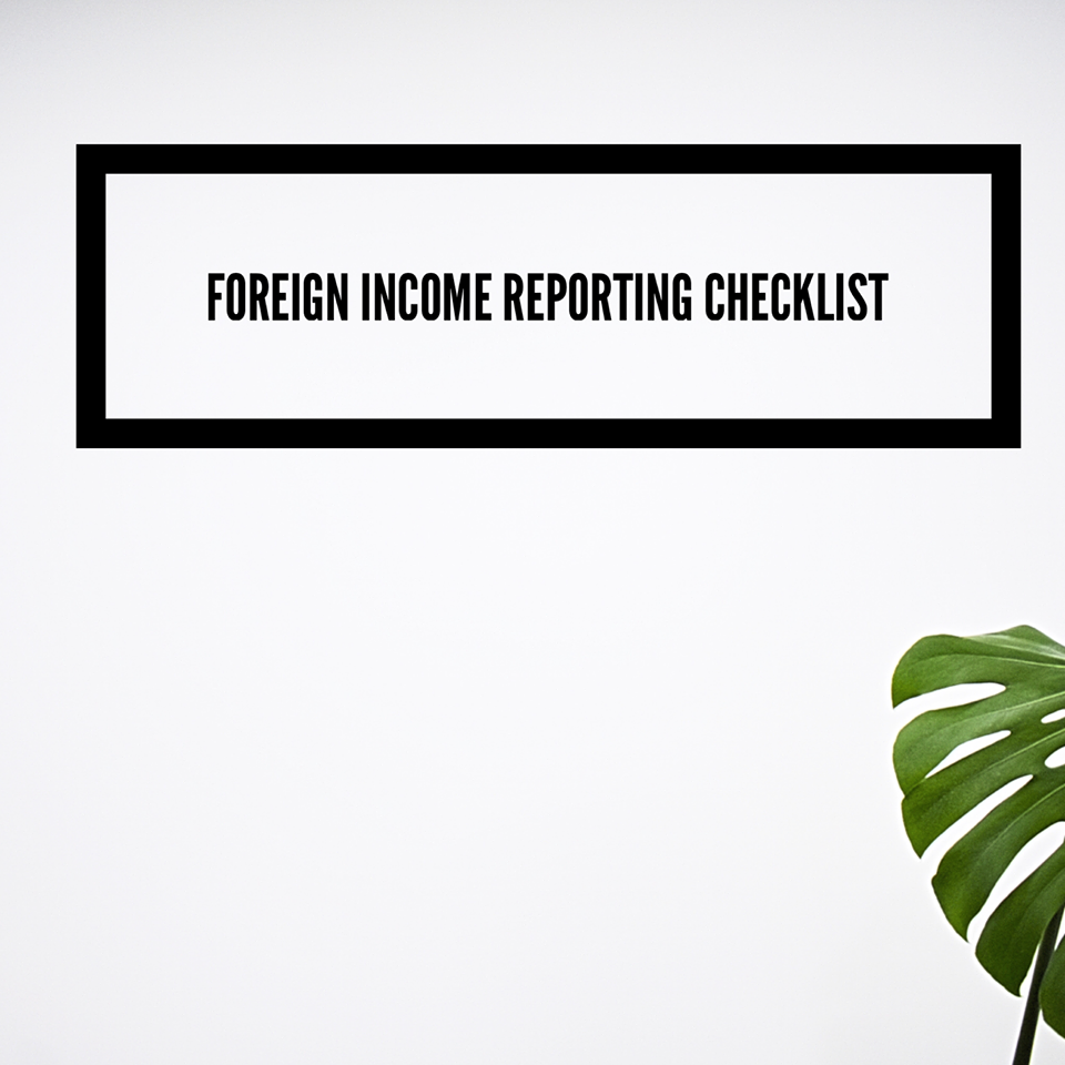 Canadian Foreign Income Reporting Checklist
