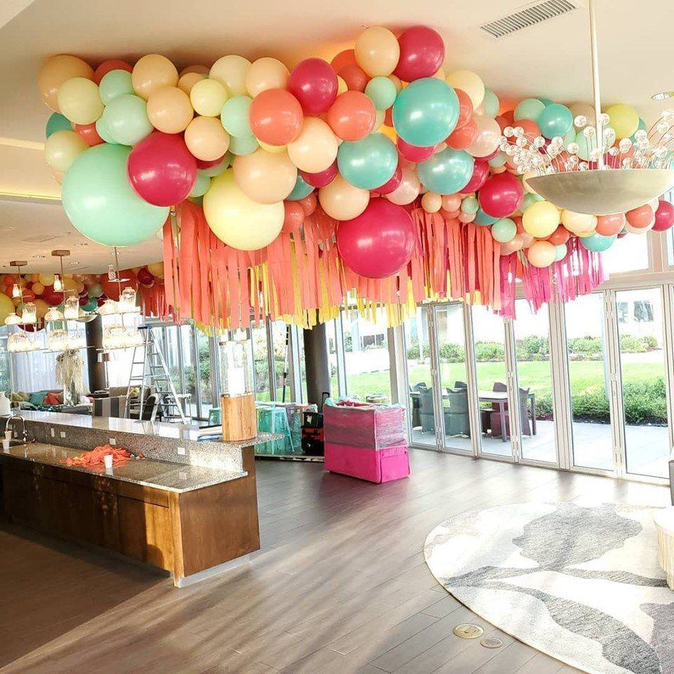 ceiling balloons, organic balloons
