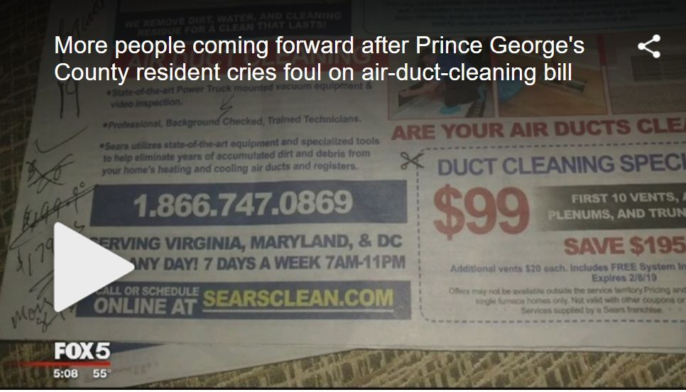 fox 5 dc air duct cleaning scam shared by a plus enviro services manassas va