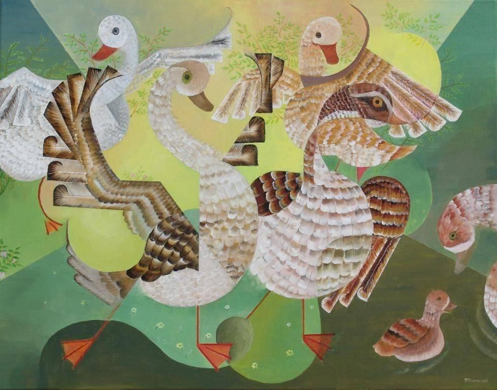 Water Fowl.  Ducks. Cubism. Modern Art. Painting. Contemporary Art.