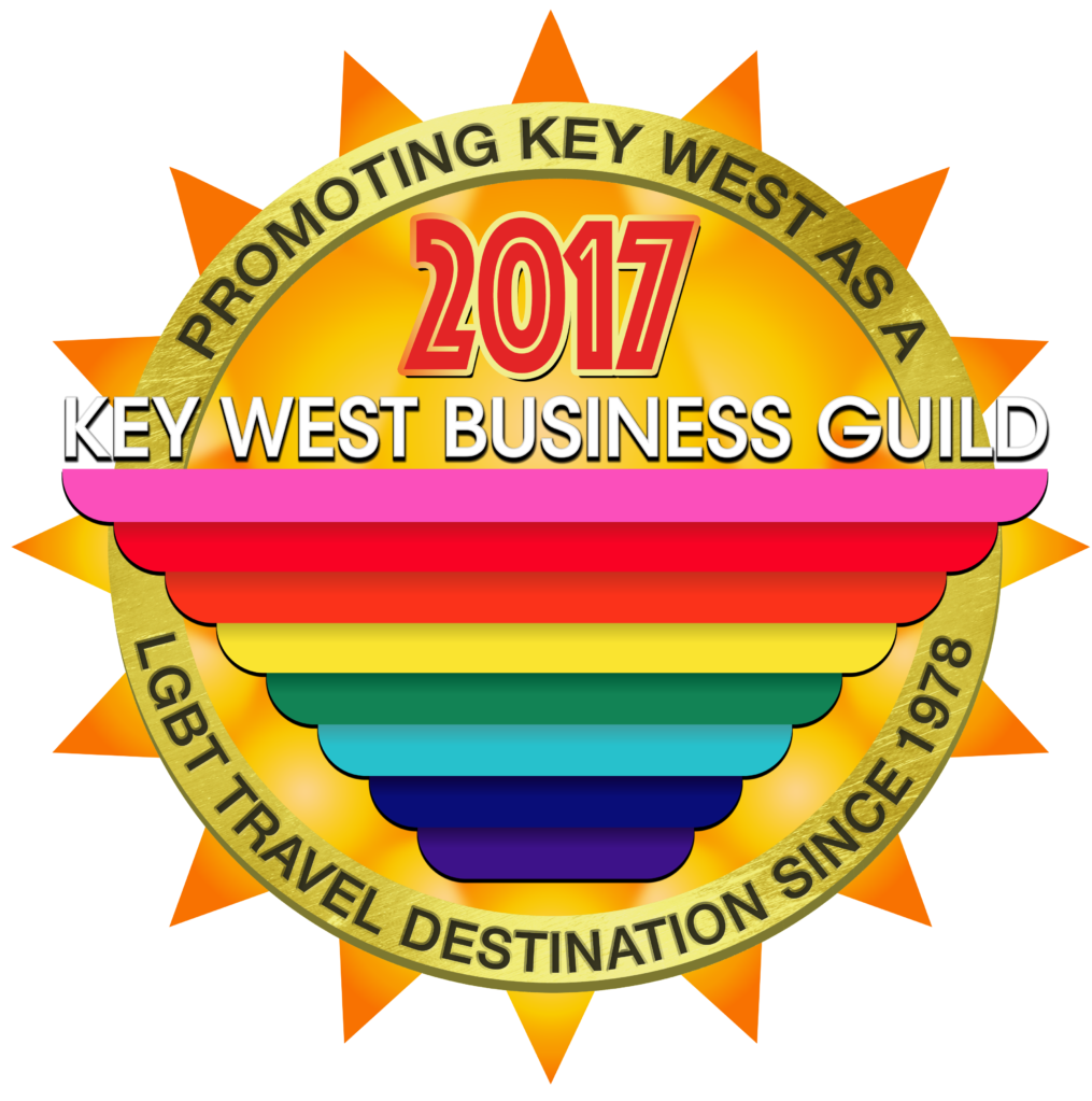 Key West Business Guild sun & rainbow gay flag logo