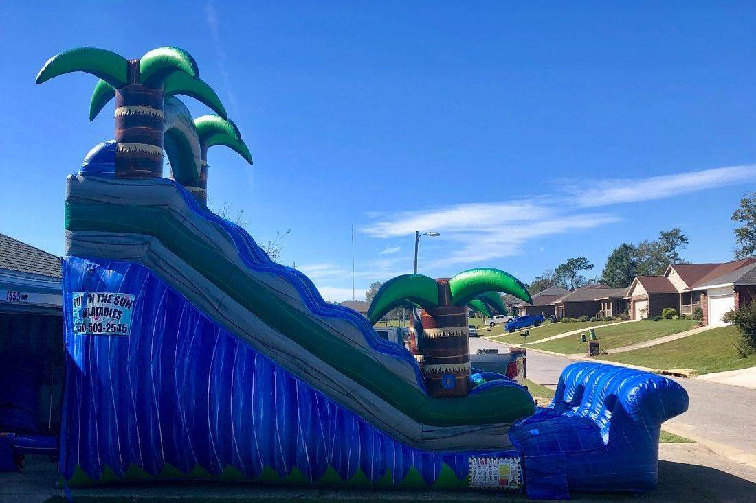 15ft green palm tree jungle slide inflatable party rental