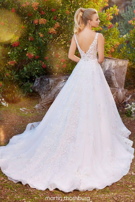 lace a-line wedding dress,organza wedding dress with straps