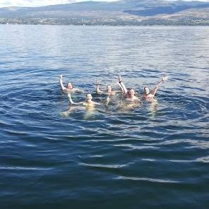 Cool off on your boat cruise with a refreshing swim in Okanagan Lake