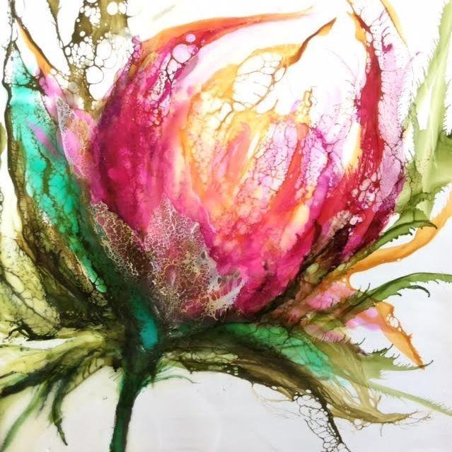 Encaustic Floral, encaustic botanical, encaustic and shellac, encaustic and alcohol ink, abstract floral, pink and greens, home decor, encaustic artist, alcohol ink artist