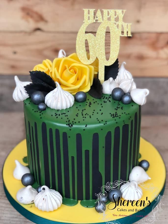 60th Birthday cake drop jamaican colour flag green black yellow roses meringues glitter card topper