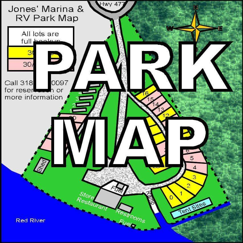RV Park, map, lots, cabin, trailers, store, drive, ramp