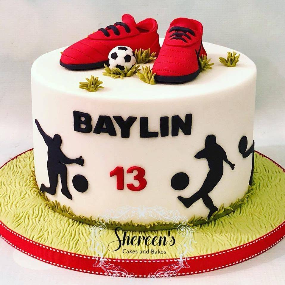 Football Silhoutte Boots Birthday Cake Ball