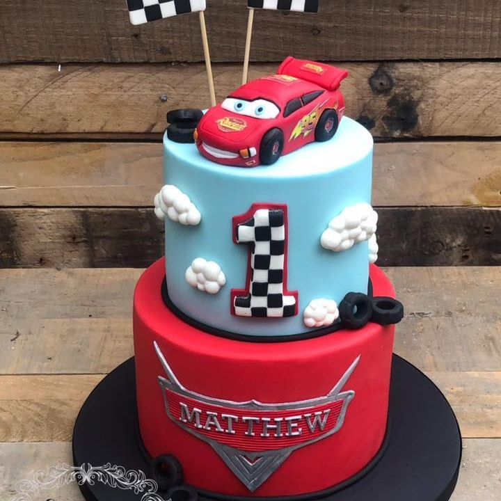birthday cake cars lightening mcqueen racing car first 1st