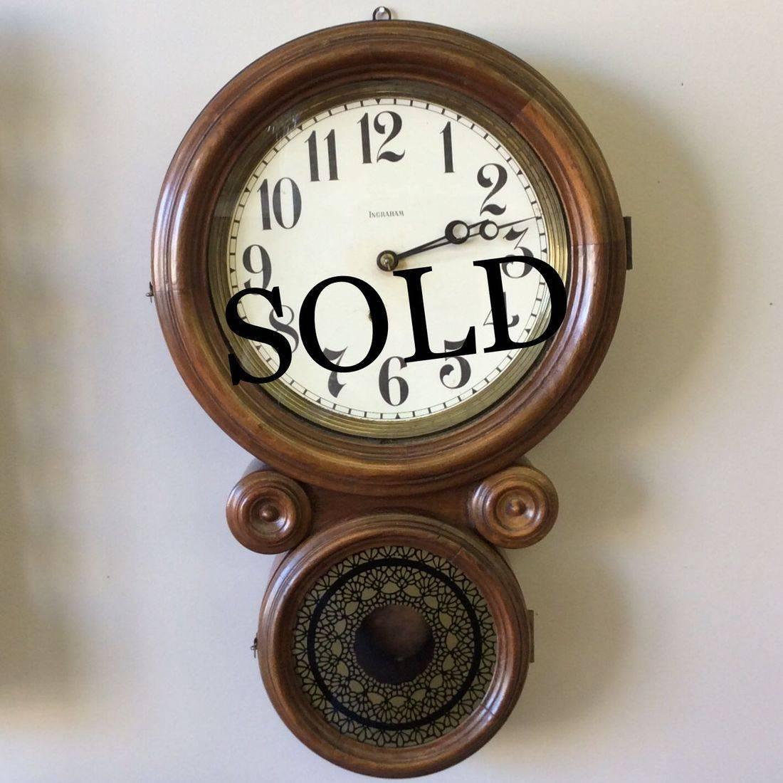"1890-1910 Ingraham Regulator Iconic Figure 8  'Working'  Eight-Day School Clock  22"" x 13-1/2""   $155.00"