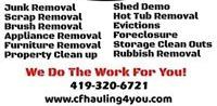 Junk Removal' Junk Hauling' Waste Management' Scrap Hauling' Clean outs' Trash outs' Local Service' Small Business' Hot tub Removal' Shed Tare down' Property Clean up'.