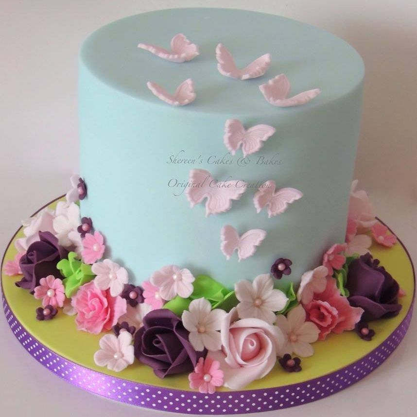 Pretty Rose butterfly Cake Birthday Mother's Day
