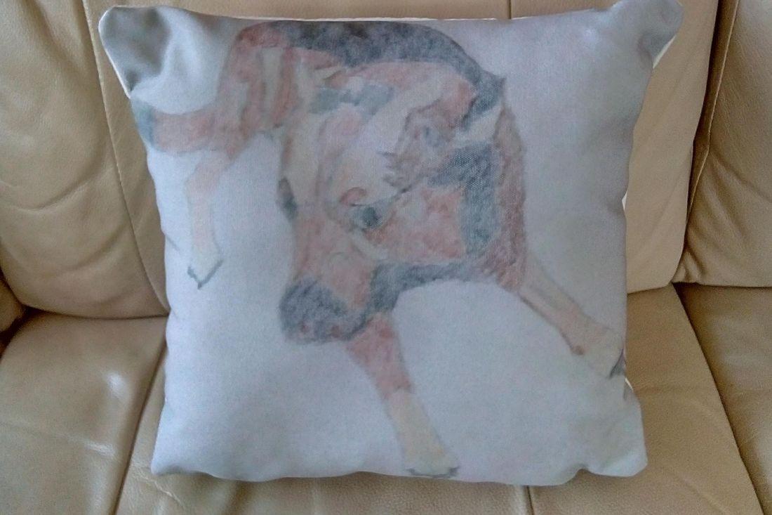 cushion of dog painting
