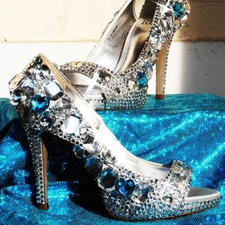 customised crystal wedding shoes with large blue stone nicky rox