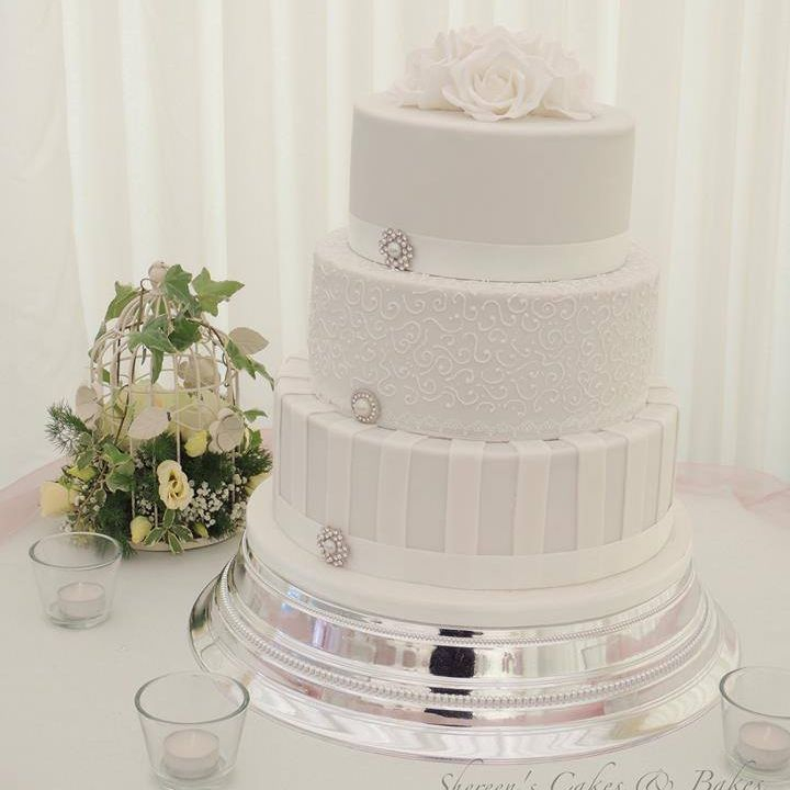 White Wedding Cake Diamante Buckle Roses Stripes