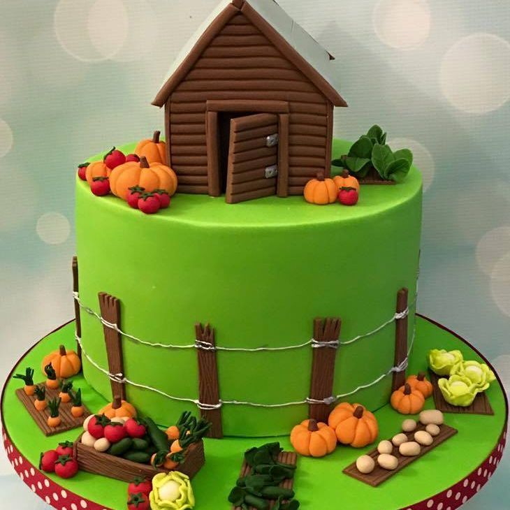 Garden Shed Vegetables Birthday Celebration Novelty Cake