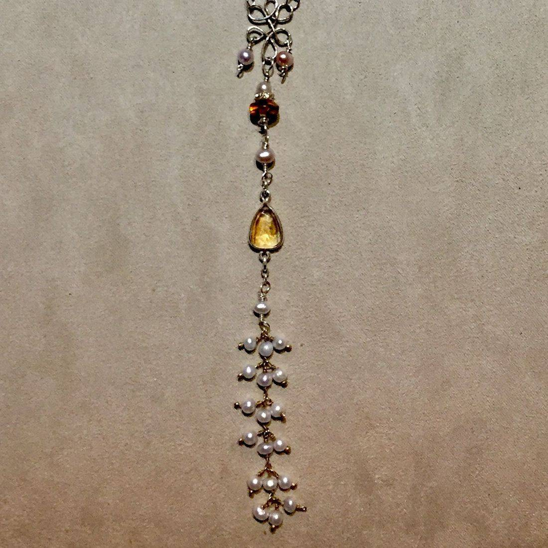 "51"" gemstone necklace with tiny pears, bezel set citrine, amber and sterling chandelier  & chain"