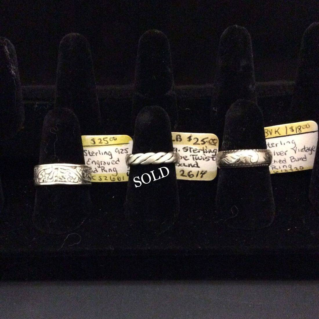 Sterling .925 Engraved, Band Ring  $25,  Vin. Sterling Sil., Rope Twist Band  $25,  Vin. Sterling Sil., Etched Band, Ring  $18.00