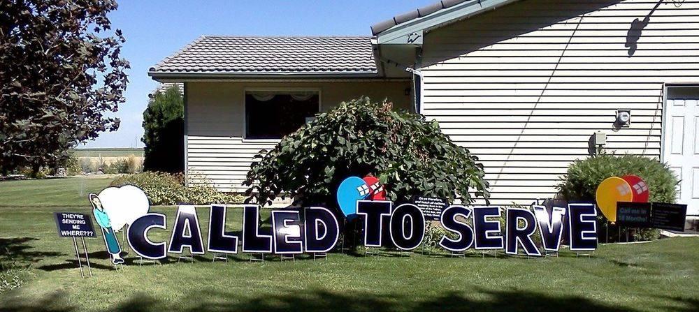 Called to Serve Missionary Yard Flamingos, Missionary Farewells, Yard Greeting, Yard Art, Over the Hill Party, 40 year old, Family Yard Art of Southeast Idaho, Pocatello, Blackfoot, Idaho Falls, Idaho