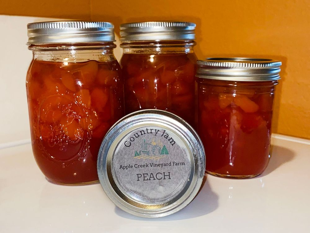 Packaged country jams and jellies.