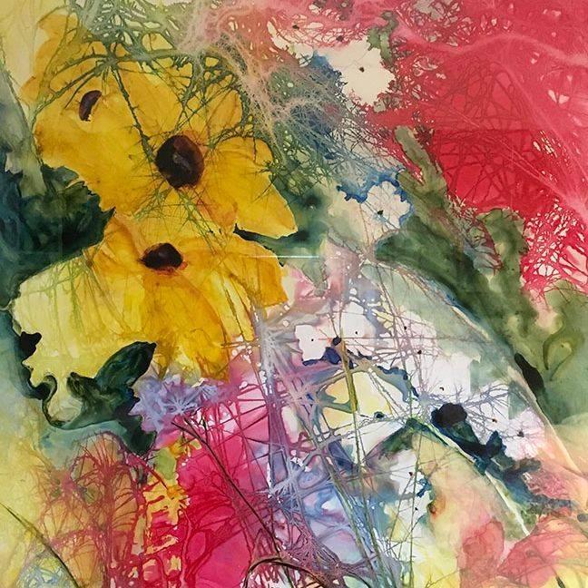 MRozear  -Garden Party.  29X34  watercolor  sold