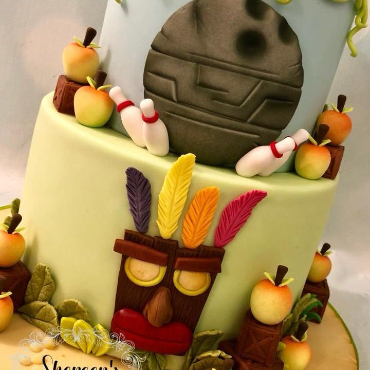 Crash Bandicoot Cake Birthday Bowling Wumpa Fruit Boxes Aku Aku