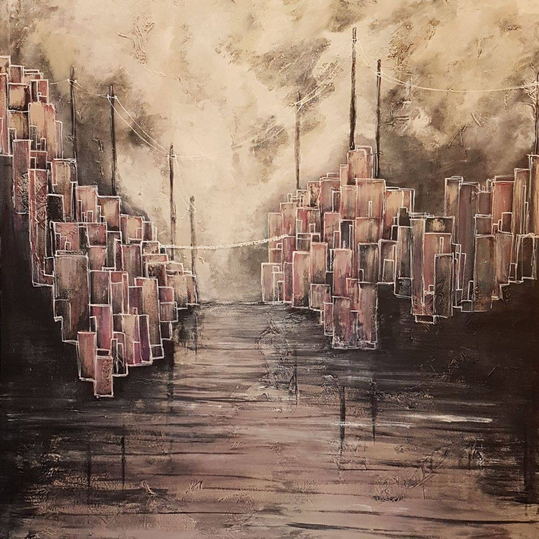 abstract painting cityscape acrylic