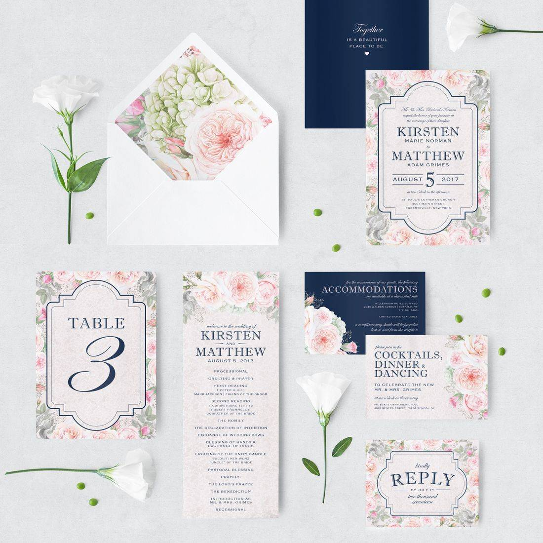Blush and navy floral and lace wedding invitation suite