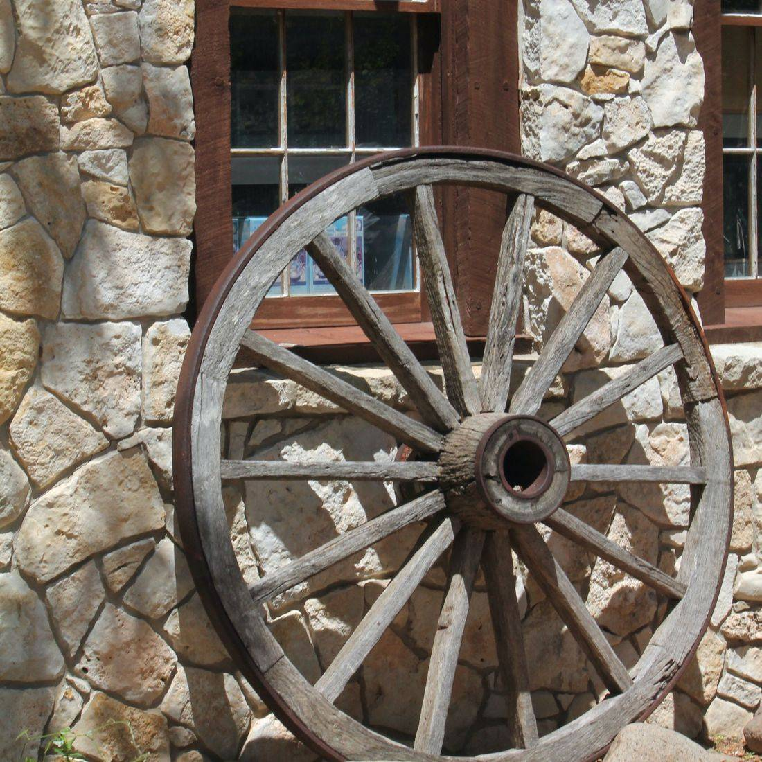 photography, wagon wheel, western, stone building, antique, old, summer, history