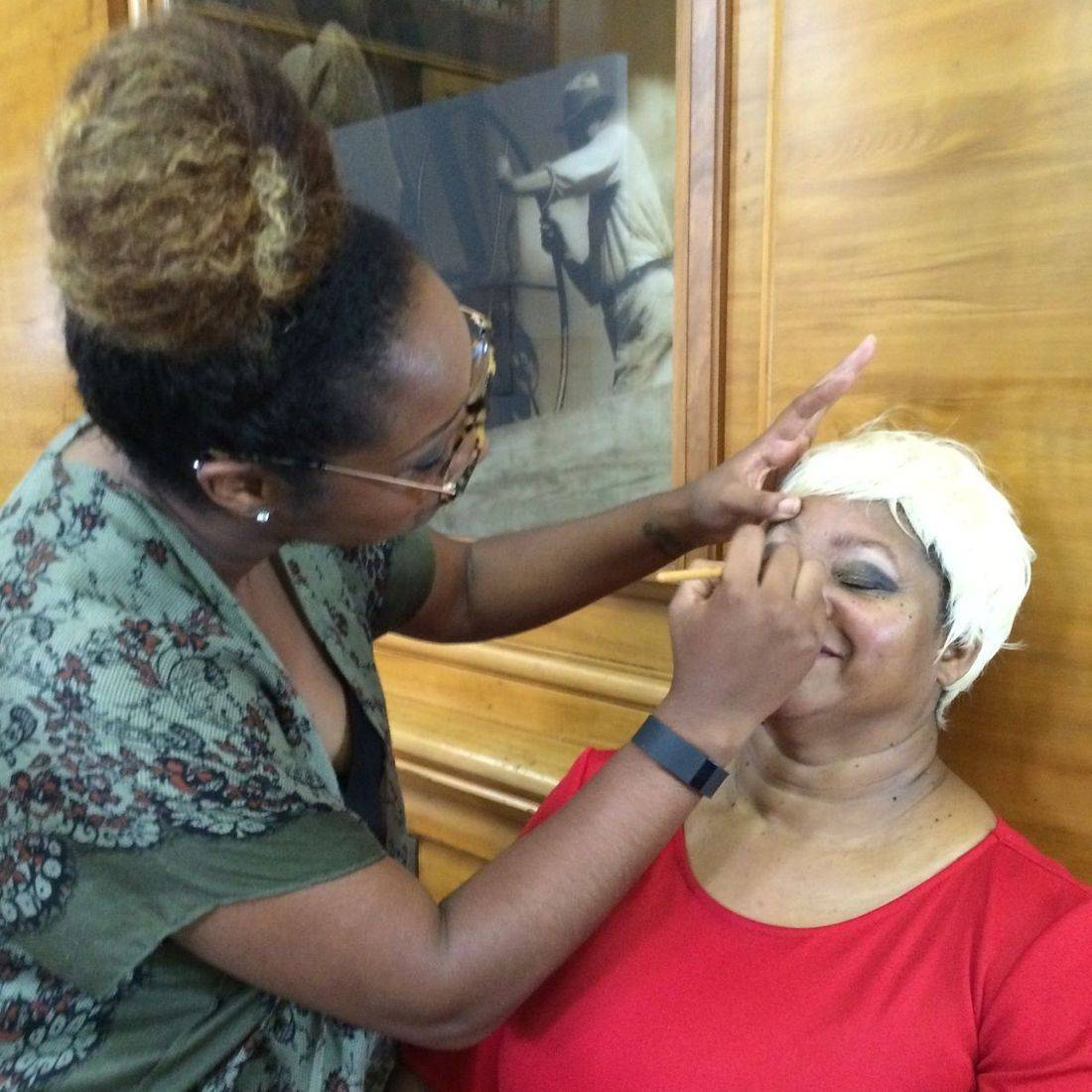 behind the scenes- makeup application