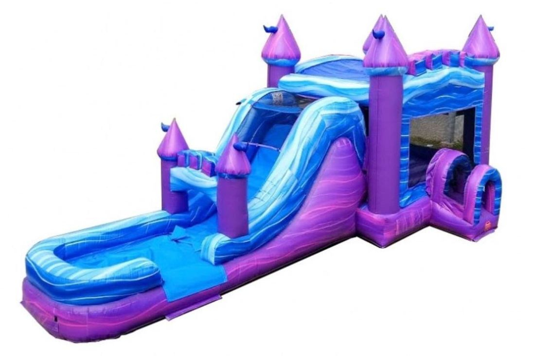purple marble Castle bounce house dry slide combo Inflatable Rental