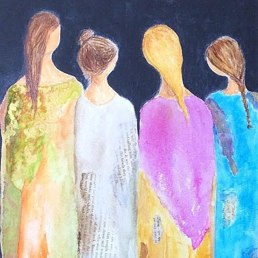 Sisters.  Art And Soul By The Lake.  Barbara Polc Artist. Collage Art. Fiber Art. Collage. Paper Art.  Mixed Media. Collage on  Canvas. Angels.  Angel Art. Inspirational Art. Angel Collage. Alcohol Ink Painting. Alcohol Ink Art. Alcohol Ink Collage. Women painting.