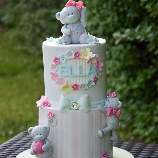 Teddy Bear Stripe 2 Tier Birthday Cake Bow Flowers