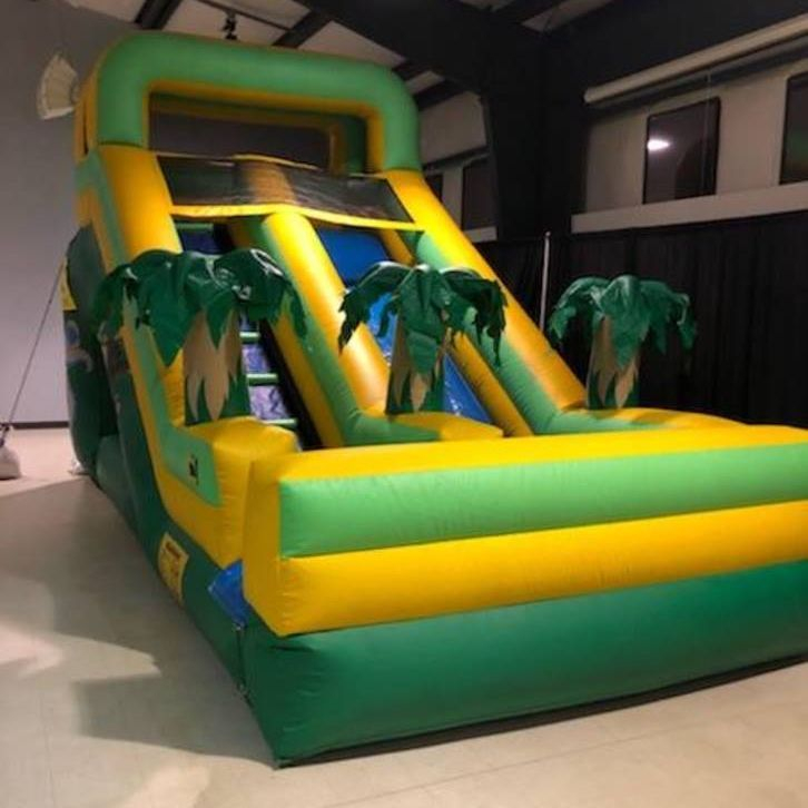 15ft. Green palm tree jungle slide