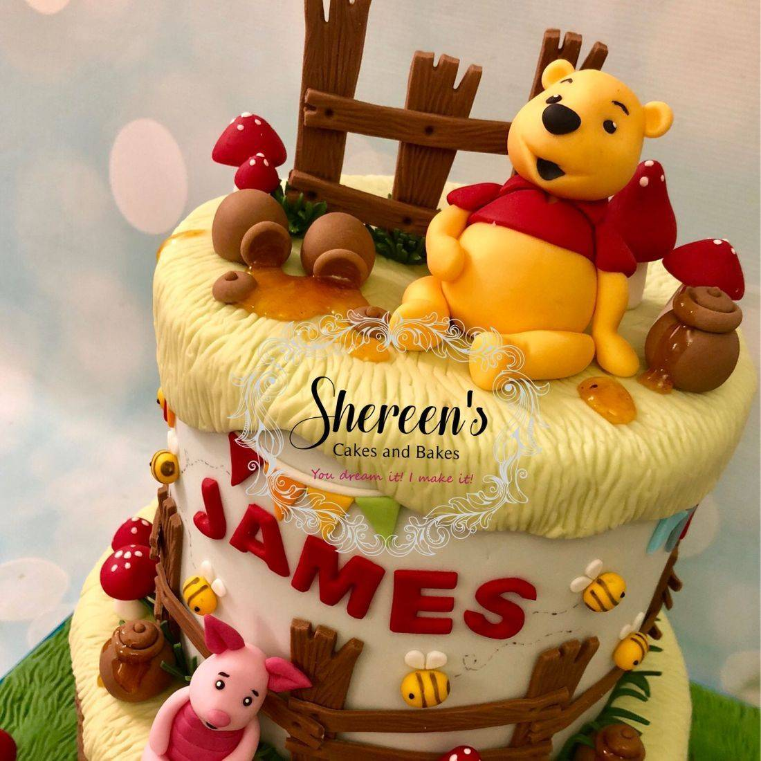 Pooh Bear Friends Tigger Piglet Eeyore Toadstools Honey Pot Bees Bunting Cake Celebration Birthday