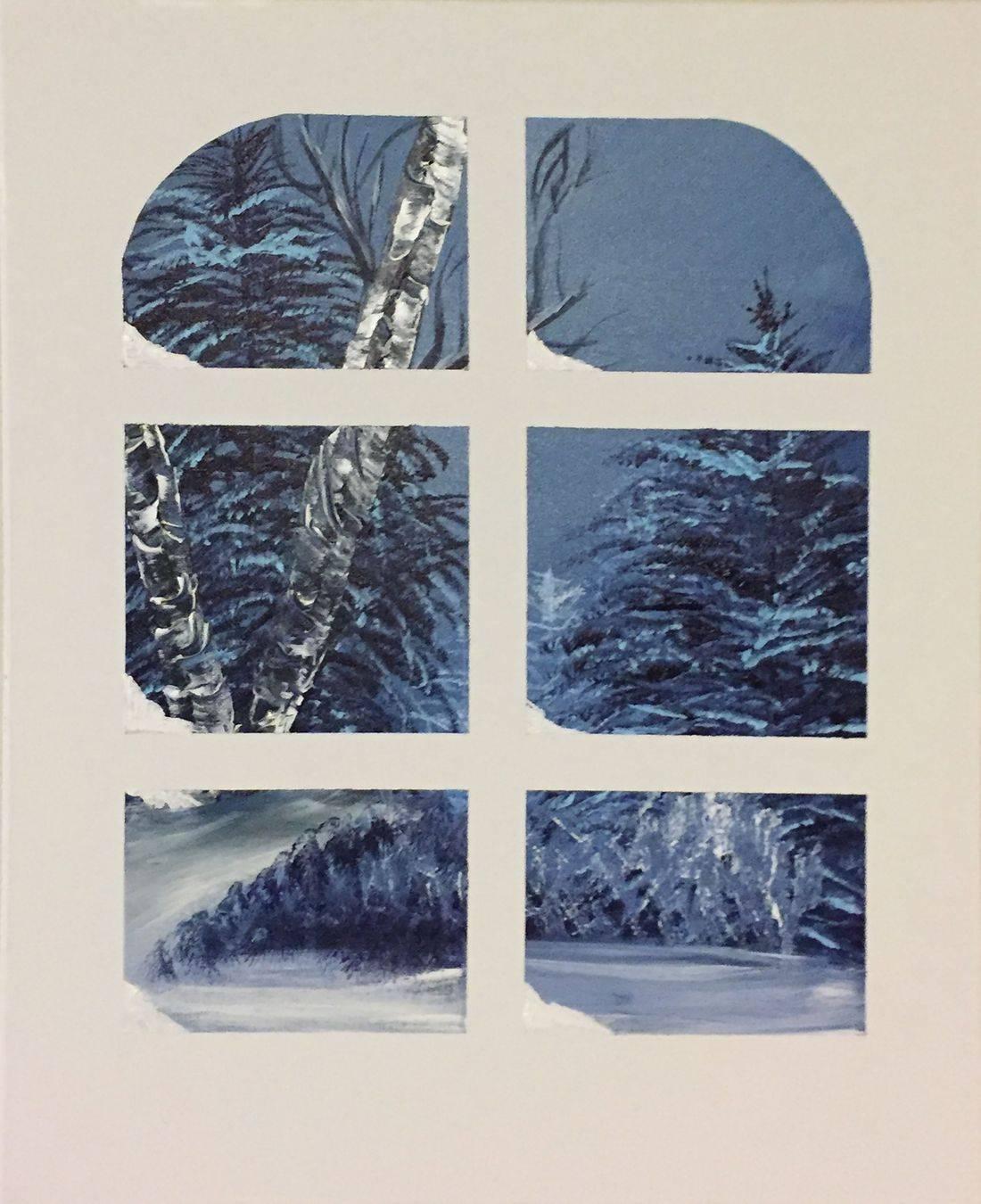 winter snow landscape window original abstract acrylic canvas painting