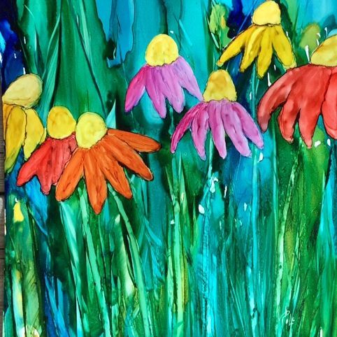Abstract Floral Alcohol Ink Painting, by Barbara Polc; Coneflowers