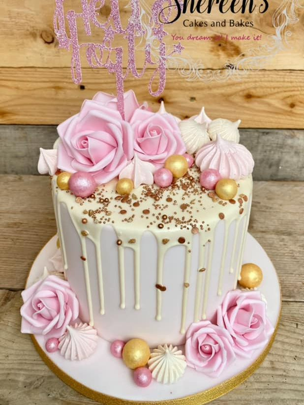 Pink and Gold drip cake topper with roses and meringuesoses sprinkles gold white glitter card topper