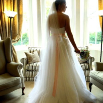 wedding dress with belt, tulle, sweetheart,ballgown