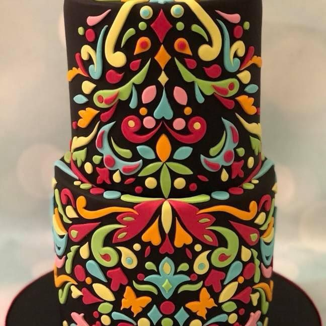 Mandala Cake Pattern Bright Colours