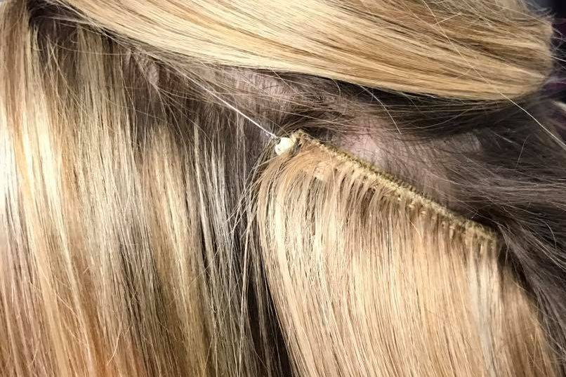Close up of Flip In Hair Extensions fitted