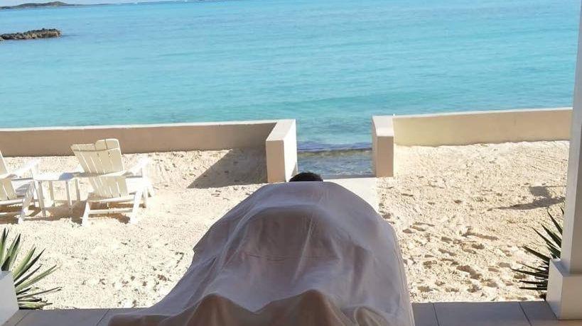 Relaxing outdoor massage..