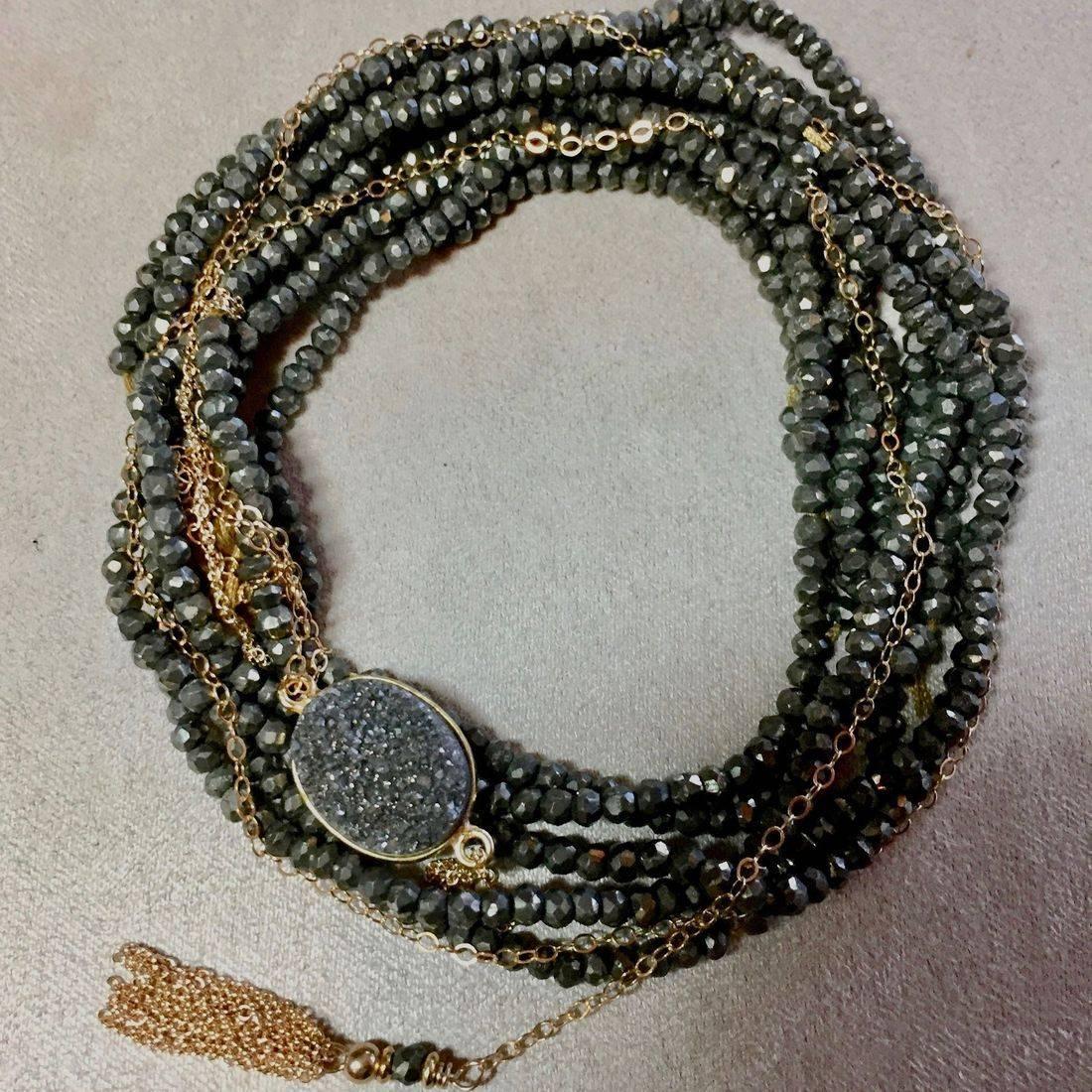 gemstone wrap bracelets, faceted natural gemstones,14k gold fill tassel,clasps, faceted pyrite,