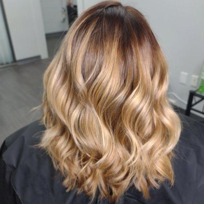 Grey blending charlotte colorist balayge brunette blondes healthy olaplex